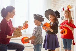 Special needs children trick or treating